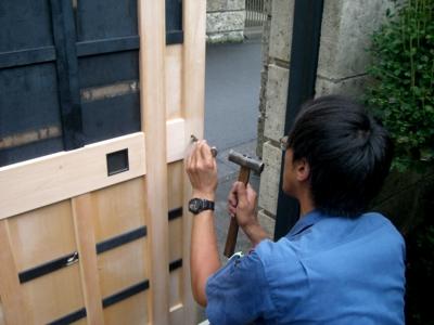 品川区の建具屋太明,施工例,門戸の補修,門戸の修理