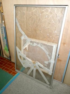 品川区の建具屋太明,施工例,ガラス戸修理,ガラス割れた