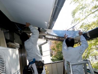 品川区の建具屋太明,施工例,ベランダにテラス設置,シェード設置,戸建て
