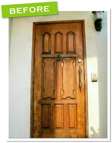 品川区の建具屋太明,木製ドア,玄関ドア,玄関ドア再塗装