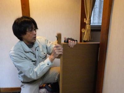 品川区の建具屋太明 施工例,ドアの吊元変更,ドアの開く方向を変える